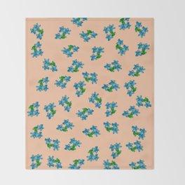 Tiny Blue Flowers on Peach Throw Blanket