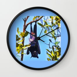 A flying fox (fruit bat) just hanging around Wall Clock