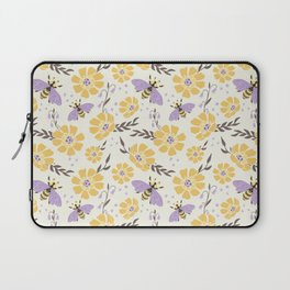 Honey Bees and Flowers - Yellow and Lavender Purple Laptop Sleeve