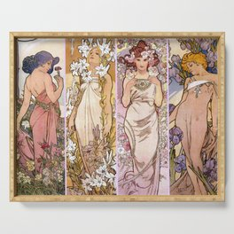 "Alfons Mucha, "" four flowers "" Serving Tray"