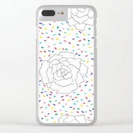 Peony Confetti Fiesta Clear iPhone Case