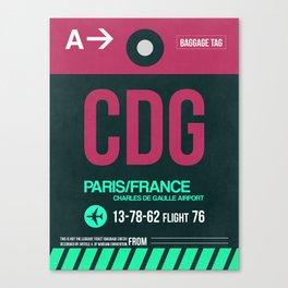 CDG Paris Luggage Tag 1 Canvas Print