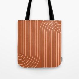Minimal Line Curvature - Coral Red Tote Bag