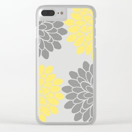 Big Grey and Yellow Flowers Clear iPhone Case