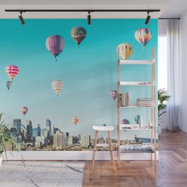 Minneapolis, Minnesota Skyline with Hot Air Balloons Over the City Skyline Wall Mural