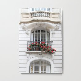 Parisian Balcony with Geraniums Metal Print