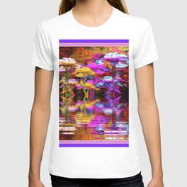 PURPLE-WHITE IRIS  WATER GARDEN  REFLECTION T-shirt