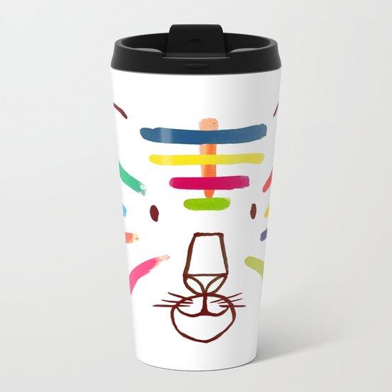 Tiger With Colorful Stripes Metal Travel Mug