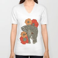 patterns V-neck T-shirts featuring The Elephant by Valentina Harper