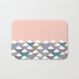 Nature background with Mountain landscape. Gray, pink, blue navy mountain with snow-capped peaks. Bath Mat