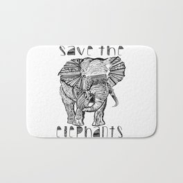 Save the elephants shirt Bath Mat