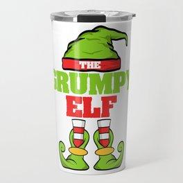 The Grumpy Elf Christmas Design For December 25th T-shirt Design Jesus Birthday Carol Gift Tree Travel Mug