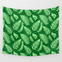 Woodland Fern Pattern, Light Green and  Emerald Wall Tapestry