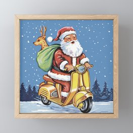 Cute Santa Claus on scooter with reindeer, vintage christmas hand drawn on old paper. Vintage Father christmas illustration pattern. Mid century style Framed Mini Art Print