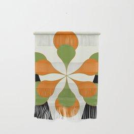Mid-Century Modern Art 1.4 - Green & Orange Flower Wall Hanging