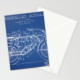 1930 R. E. Forman Air Propelled Motorcycle Patent drawing Stationery Cards