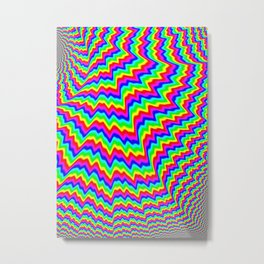 Mind Melt I: A Psychedelic Overload of Colors and Wavy Lines Metal Print