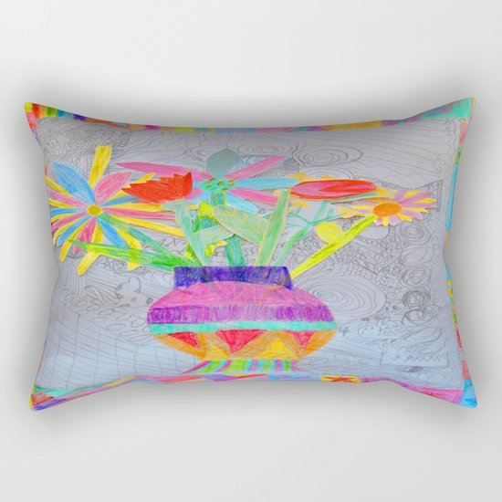 Flower Vase   Kids Painting   3D Collage Rectangular Pillow