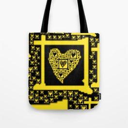 Yellow Toxic Hearts Tote Bag