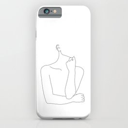 Womans body line drawing illustration - Helen iPhone Case