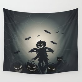 A pumpkin scarecrow in the cornfield Wall Tapestry