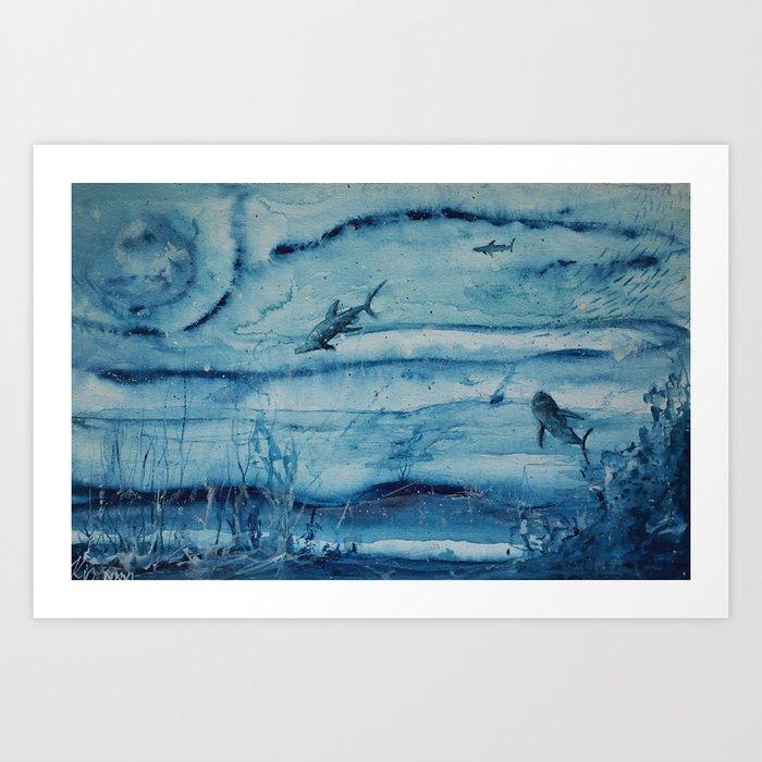 Sharks in deep blue Kunstdrucke