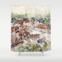 poland Shower Curtains featuring Old Marketplace in Kazimierz Dolny | Poland by Karolina Ostrowska