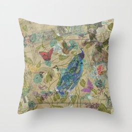 Vintage Ivory Green Blue Pink Peacock Collage Throw Pillow