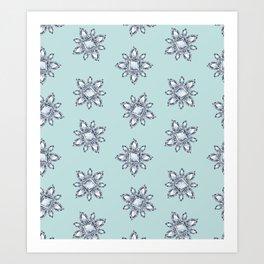 Jewelbox: Diamond Brooch Repeat in Eggshell Aqua Art Print
