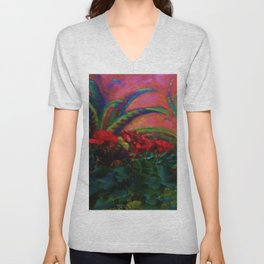 RED GERANIUMS GREEN SUCCULENT PAINTING Unisex V-Neck