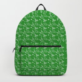 Green Christmas Symbols Paper Pattern Backpack