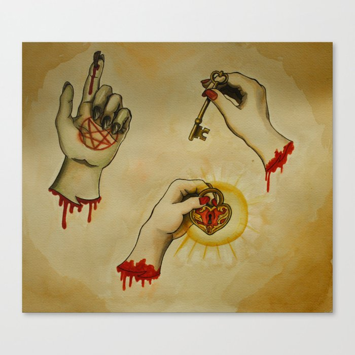 3a181b8efab50 Zombie Severed Hands Tattoo Flash Canvas Print by tuesdayglennan ...