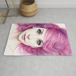 Pink Hair Green Eyes Beautiful Girl Rug