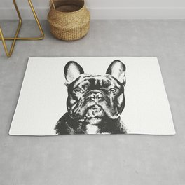 Black And White French Bulldog Sketch Rug