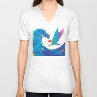 hokusai V-neck T-shirts featuring Hokusai Rainbow & Eagle by FACTORIE