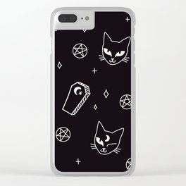 Cute Goth Kitties & Coffins Clear iPhone Case