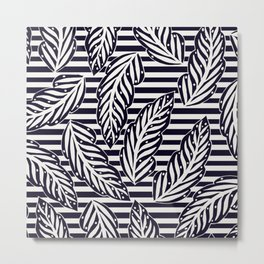 Foliage and stripes - black and white Metal Print