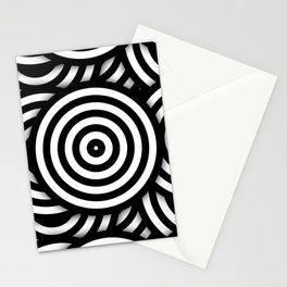 Retro Black White Circles Op Art Stationery Cards