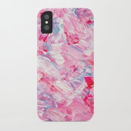 Pink white brushstrokes candy acrylic paint iPhone Case