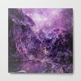 galaxy mountains Purple Metal Print