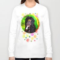 marijuana Long Sleeve T-shirts featuring Rastaman Marijuana Caricature 3d by BluedarkArt