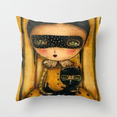 The Halloween Witch And The Black Cat Throw Pillow