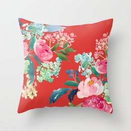 Red Floral Pink Watercolor Flowers Throw Pillow