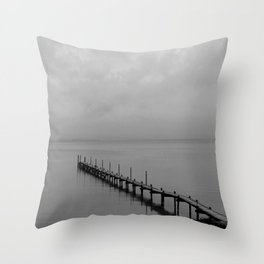 Misty Morning At The Lake Throw Pillow