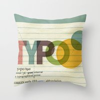 typo Throw Pillows featuring typo by Vin Zzep