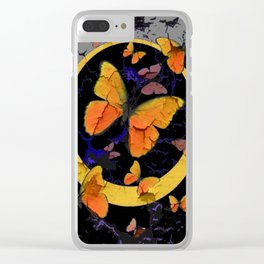 """SHABBY CHIC """"OFF THE WALL"""" BUTTERFLIES &  BLACK  ART Clear iPhone Case"""