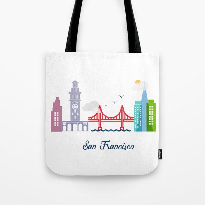 what a colorful city San Francisco, CA. v2. Tote Bag