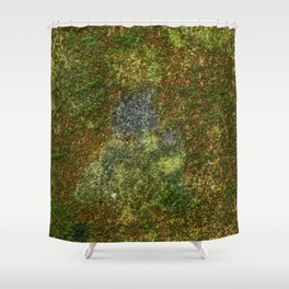 Old stone wall with moss Shower Curtain