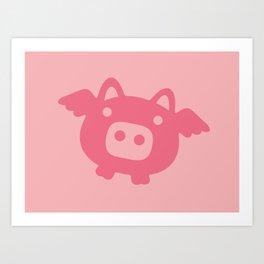 Pink Flying Pig Art Print