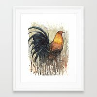 rooster Framed Art Prints featuring Rooster by Villarreal